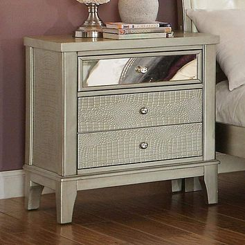 Contemporary Style Wooden Nightstand With Three Drawers, Silver