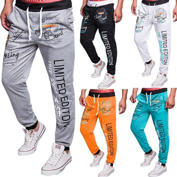 Mens Casual Sweat Pants letters printed Jogger Trousers Tracksuit -MX8