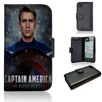 Captain America Winter Soldier | Marvel | Movie | custom wallet case | custom iPhone 4/4s 5 5s 5c 6 6+ case | custom samsung galaxy s3 s4 s5 s6 case |