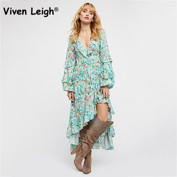 Viven Leigh 2018 Natural Floral Print Asymmetrical Dress Bohemian Ruffles Detail Hollow Out Long Sleeve Flared Long Maxi Dress