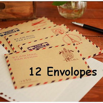 Retro vintage envelope 12pcs Europe antique envelope set old fashion style Kraft card pattern diy special mail thank you card Scrapbooking