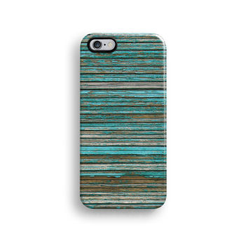 Teal wood iPhone 6 case, iPhone 6 Plus case S330B