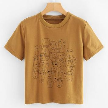 Cartoon Portrait Print Tee