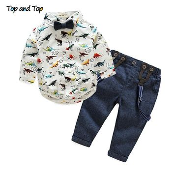 Autumn Baby Boy Clothing Sets Bow Tie Long Sleeve Cartoon T-shirt+Suspender Pants Formal Baby Clothes