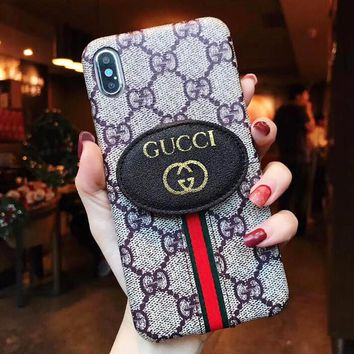GUCCI Fashion Women Men Leather Classic Print Card Mobile Phone Cover Case For iphone 6 6s 6plus 6s-plus 7 7plus 8 8plus X XsMax XR Grey