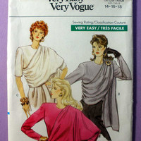 "Toga Look Top with Asymmetrical Single Layer Drape Vogue 7390 Misses' Size 14, 16, 18 Bust 36, 38, 40"" Sewing Pattern Uncut, OOP Rare"