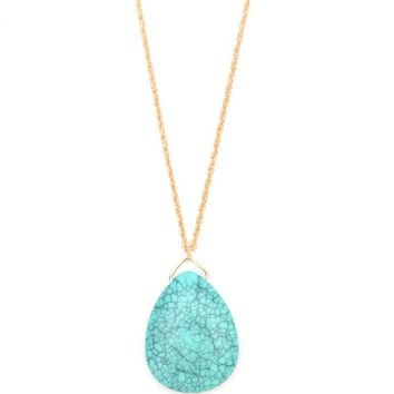 With Love From CA Turquoise Drop Necklace - Womens Jewelry - Gold - NOSZ
