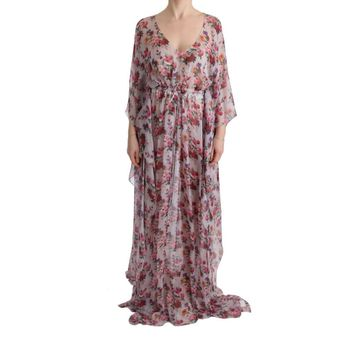 Dolce & Gabbana Multicolor Silk Multicolor Floral Print Long Dress