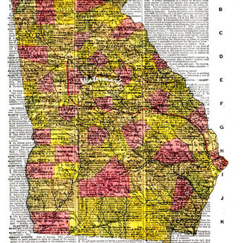 Map of Georgia - 1846 - Vintage Dictionary Art Print - Page Size 8.5x11