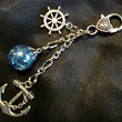 Nautical Fried Marble Anchor Rudder Deep Teal Blue Keychain