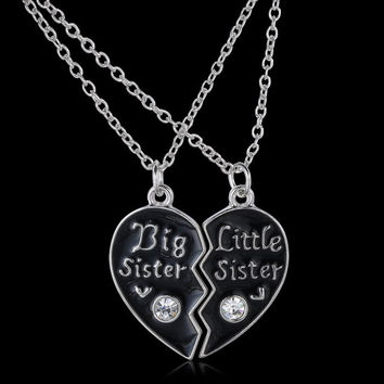 Personalized broken heart necklaces Big sister Little Sister Couple Necklaces Gifts For Family monogram HandStamped Jewelry