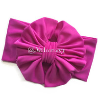 Big Messy Bow Wrap, Messy Bow Headband, Floppy Bow in Mulberry Color,  Messy Bow Headband