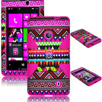 For Nokia Lumia 521 Hybrid Pink Tribal Aztec Hard Case + Hot Pink Silicone Cover