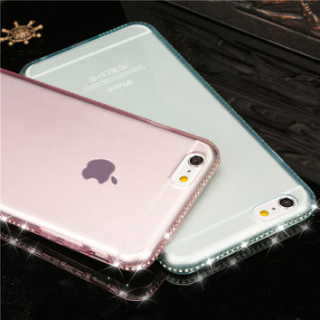 Luxury Shiny Rhinestone Phone Cases Cover for iPhone 6 6S 6Plus 6s plus 7 7Plus Diamond Soft TPU Clear Crystal Case for 5 5S SE