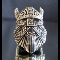 THOR VIKING RING with Mask Horns & Warhammer in Sterling Silver 925 - Custom Fitted Sizes