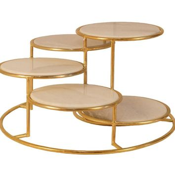 5 Tier Metal Cocktail Table With Marble Top, Gold