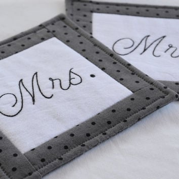 Mr. and Mrs. Wedding Coasters - Mug Rug - Home Decor - Gray - Polka Dots - Hand Stitched - Black