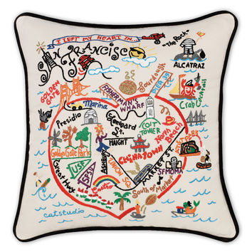 San Francisco Hand Embroidered Pillow