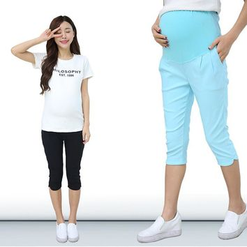 Summer Trousers Maternity Pants Gravida Clothing Short Capris Pregnancy Goods women Clothes overalls Size 5XL vetement femmel