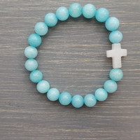 Sky Blue Jade Gemston Bracelet w/ White Quartz Cross
