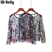 2017 Women Sexy Through Flower Embroidery Mesh Transparent Blouses Female Sweet O-Neck Long Sleeve Shirt Tops Blusas Feminina