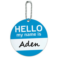 Aden Hello My Name Is Round ID Card Luggage Tag