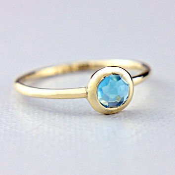 Rose Cut Blue Topaz Ring 14k Yellow Gold Rose Cut Blue Topaz Gold Ring Size 6.5US Alternative Engagement Ring Blue Topaz Engagement Ring