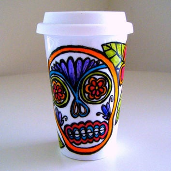 Ceramic Travel Mug Eco Friendly Sugar Skull Mexican Folk Art Day of the Dead Painted by sewZinski on Etsy