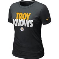 Pittsburgh Steelers Nike Women's Troy Polamalu Knows Black T-Shirt - Official Online Store