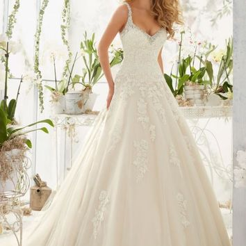 Mori Lee 2811 Tank Drop Waist Lace Ball Gown Wedding Dress