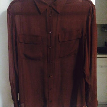 Equipment Brown Silk Button Down Blouse Size Small