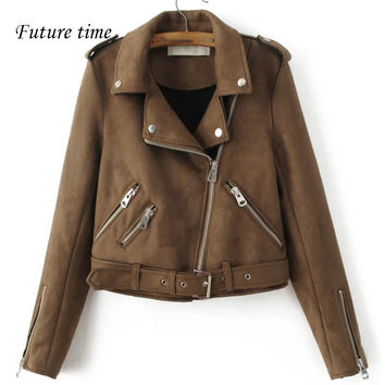 new women coat female leather slim jacket with pocket jacket spring high quality zipper fashion jacket women coat outwear YF234