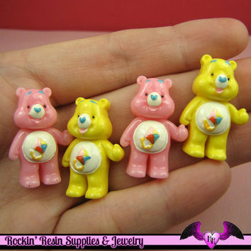 4 Pcs Pink and Yellow BEAR Flatback Resin Decoden Kawaii Cabochons 19x28mm