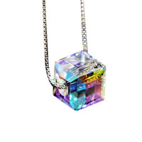 Silver Plated Aurora Sugar Cubes Crystal Clavicle Pendant Necklace for Women
