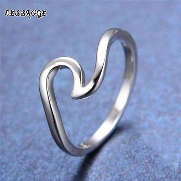 DESSAUGE Simple Wave Ring For Women Rings Rose Gold And Silver zinc alloy Ocean Ring Beach Tidal Jewellery Love Ring Gifts