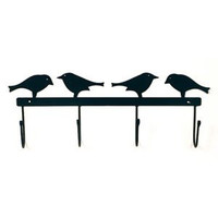 Country Crow 4 Hook Rack - Powder Coated Black