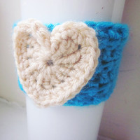 Crochet Cup Cozy The Heart Coffee Cup Sleeve in Bright Blue and Cream