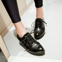 Lace Up Oxfords High Heels Women Shoes Chunky Heel Pumps  9521
