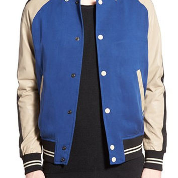 'Eddie' Mixed Media Varsity Jacket