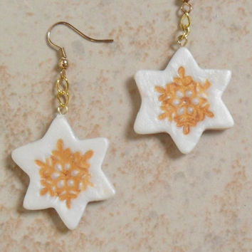 Snowflake stars dangle earrings gold and pearly white polymer clay festive earrings for the winter holiday season ooak Christmas