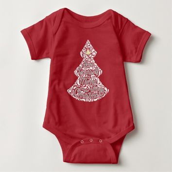 Message in the Design, Christmas Tree Design Baby Bodysuit