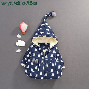 WYNNE GADIS Winter Baby Girls Animal Cat Print Hooded Long Sleeve Kids Jacket Coat Infant Thick Warm Overcoat Outerwear casaco
