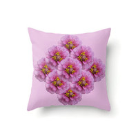 Pink Floral Pillow Cover with pink zinnia flowers, indoor or outdoor throw pillow covers in 16 x 16, 18 x 18 or 20 x 20 inch