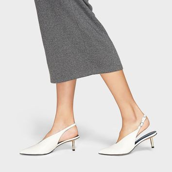 White Pointed Slingback Kitten Heels | CHARLES & KEITH