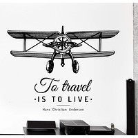Wall Vinyl Decal Airplane Freedom To Travel Is To Live Home Interior Decor Unique Gift z4223