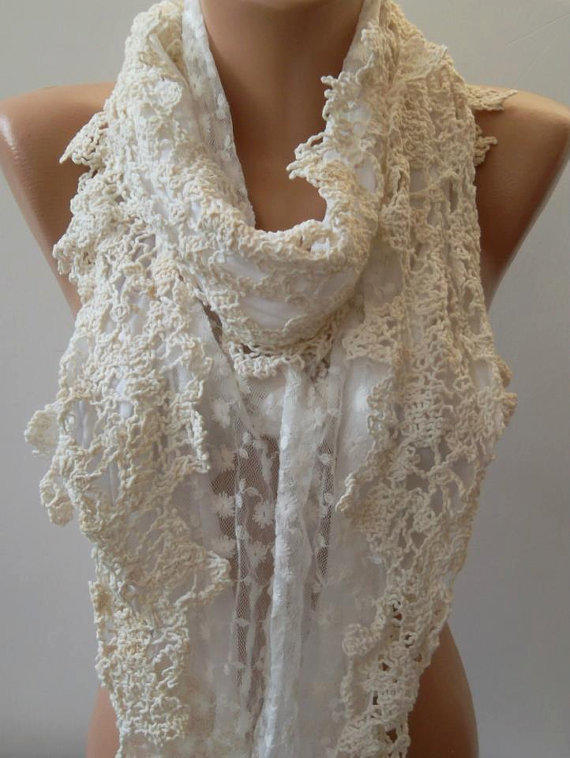 Pearl White - Elegance Shawl - Scarf with Lace Edge....