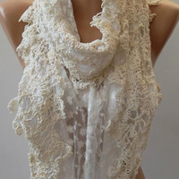 Pearl White ....Elegance Shawl - Scarf with Lace Edge....