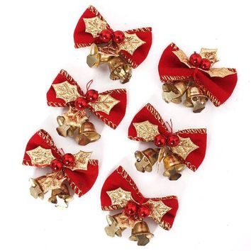 PEAPIX3 6 PCS Merry Christmas 5cm Bowknot with Small Bell Decor Christmas Tree Hanging Decoration Xmas Bowknot Ornament [9343527364]