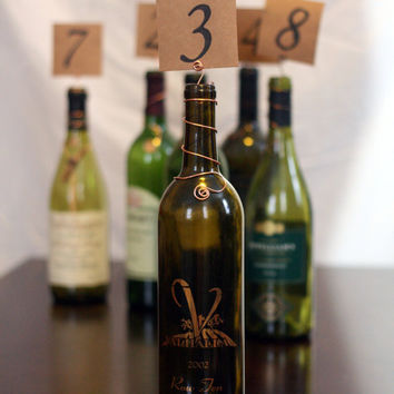 Rustic Wedding Wire Wine Bottle Topper Table Number Markers Wedding Table Numbers Place Card Number Cards Rustic Country Vineyard Wedding