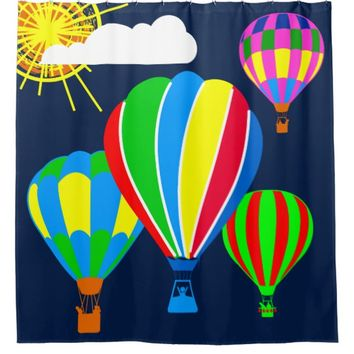Hot Air Balloons in the sky funny Shower Curtain